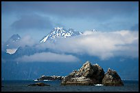 Rocky islets and cloud-shrouded peaks, Aialik Bay. Kenai Fjords National Park, Alaska, USA. (color)