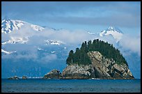 Rocky islet and snowy peaks, Aialik Bay. Kenai Fjords National Park ( color)
