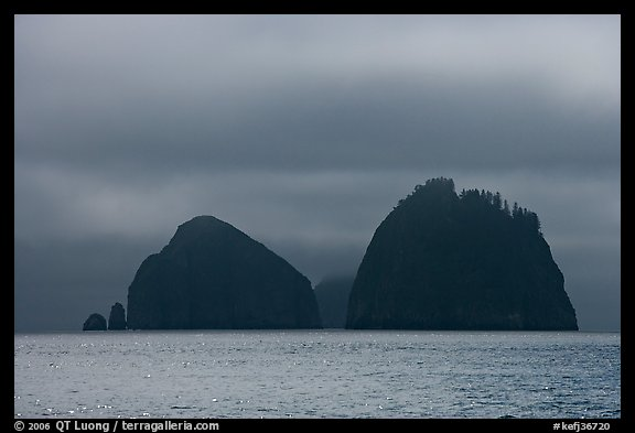 Islands emerging from fog, Aialik Bay. Kenai Fjords National Park (color)