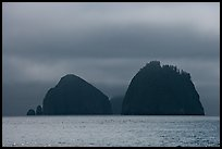 Islands emerging from fog, Aialik Bay. Kenai Fjords National Park, Alaska, USA.