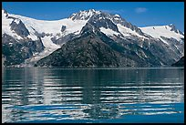 Rippled refections of peaks and glaciers, Northwestern Fjord. Kenai Fjords National Park, Alaska, USA. (color)