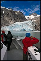 Passengers looking at Northwestern glacier from the deck of tour boat. Kenai Fjords National Park, Alaska, USA. (color)