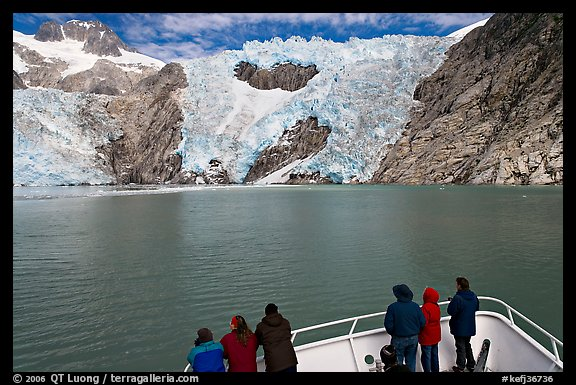 People looking at Northwestern glacier from deck of boat, Northwestern Fjord. Kenai Fjords National Park (color)