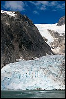Steep Northwestern Glacier descending from Harding Icefield, Northwestern Fjord. Kenai Fjords National Park, Alaska, USA.