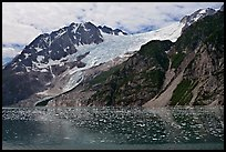 South side of fjord and icebergs, Northwestern Fjord. Kenai Fjords National Park, Alaska, USA.