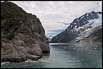 Striation Island and glacier in Northwestern Fjord. Kenai Fjords National Park, Alaska, USA. (color)