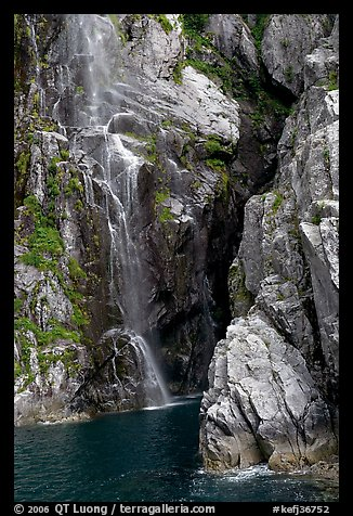 Waterfall, Cataract Cove, Northwestern Fjord. Kenai Fjords National Park, Alaska, USA.
