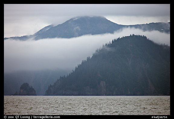 Mountains and fog above Aialik Bay. Kenai Fjords National Park (color)