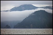 Mountains and fog above Aialik Bay. Kenai Fjords National Park, Alaska, USA.