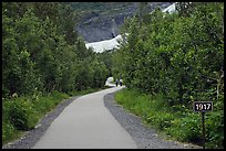 Exit Glacier trail with marker showing glacial retreat. Kenai Fjords National Park, Alaska, USA. (color)