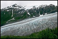 Exit glacier flowing down mountainside. Kenai Fjords National Park, Alaska, USA.