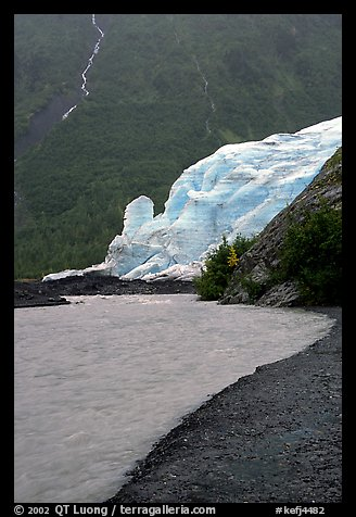 Exit Glacier, glacial outwash plain, and glacial stream. Kenai Fjords National Park (color)