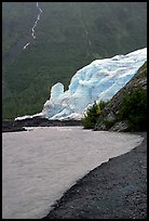 Exit Glacier, glacial outwash plain, and glacial stream. Kenai Fjords National Park, Alaska, USA. (color)