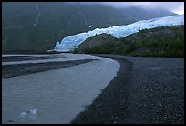 Glacial stream, Exit Glacier and outwash plain, 2002. Kenai Fjords National Park, Alaska, USA.