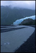 Exit Glacier and stream on glacial plain. Kenai Fjords National Park, Alaska, USA.