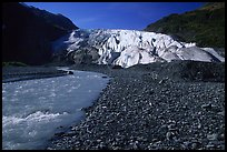 Exit Glacier and glacial stream from the plain. Kenai Fjords  National Park, Alaska, USA.