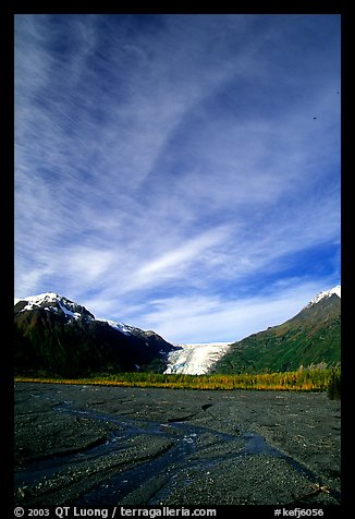 Sky, Resurrection River and Exit Glacier, morning. Kenai Fjords National Park, Alaska, USA.