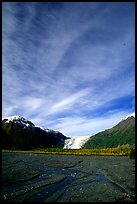 Sky, Resurrection River and Exit Glacier, morning. Kenai Fjords National Park, Alaska, USA. (color)