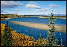 Sand bar and bend of the Kobuk River, mid-morning. Kobuk Valley National Park, Alaska, USA. (color)