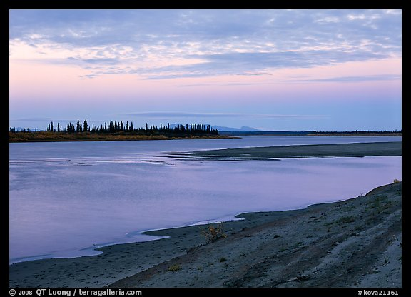 Sandy shore of Kobuk River at dusk. Kobuk Valley National Park (color)