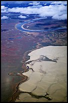Aerial view of the Great Kobuk Sand Dunes. Kobuk Valley National Park, Alaska, USA.
