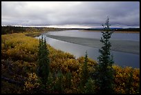 Bend of Kobuk River and sand bar, evening. Kobuk Valley National Park, Alaska, USA. (color)