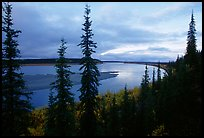 Bend of Kobuk River, dusk. Kobuk Valley National Park, Alaska, USA.