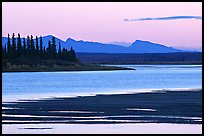 Sand bar shore, river and Baird mountains, evening. Kobuk Valley National Park, Alaska, USA. (color)
