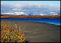 Kobuk River and Baird mountains with fresh dusting of snow, morning. Kobuk Valley National Park, Alaska, USA. (color)