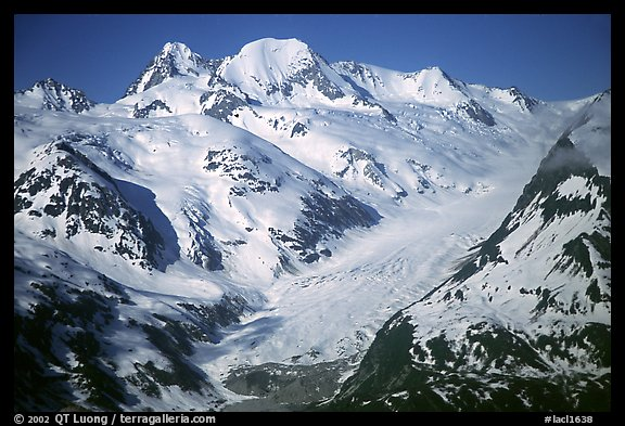 Aerial view of snowy mountains near Lake Clark Pass. Lake Clark National Park, Alaska, USA.