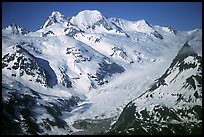 Aerial view of snowy mountains near Lake Clark Pass. Lake Clark National Park, Alaska, USA. (color)