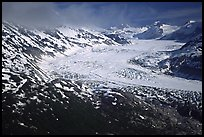 Aerial view of wide glacier near Lake Clark Pass. Lake Clark National Park, Alaska, USA. (color)