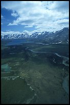 Aerial view of wide valley with Twin Lakes. Lake Clark National Park, Alaska, USA. (color)