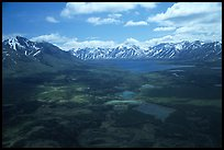 Aerial view of large valley with Twin Lakes. Lake Clark National Park, Alaska, USA. (color)