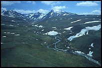 Aerial view of river and valley in the Twin Lakes area. Lake Clark National Park, Alaska, USA. (color)