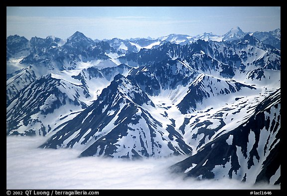 Aerial view of Chigmit Mountains. Lake Clark National Park, Alaska, USA.
