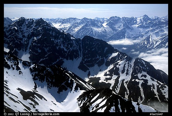 Aerial view of ridges, Chigmit Mountains. Lake Clark National Park (color)