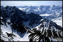 Aerial view of ridges, Chigmit Mountains. Lake Clark National Park, Alaska, USA. (color)