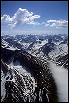 Aerial view of rocky peaks with snow, Chigmit Mountains. Lake Clark National Park, Alaska, USA. (color)