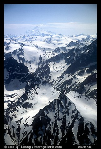 Aerial view of rugged peaks, Chigmit Mountains. Lake Clark National Park (color)