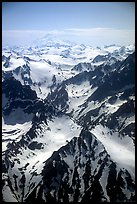 Aerial view of rugged peaks, Chigmit Mountains. Lake Clark National Park, Alaska, USA. (color)