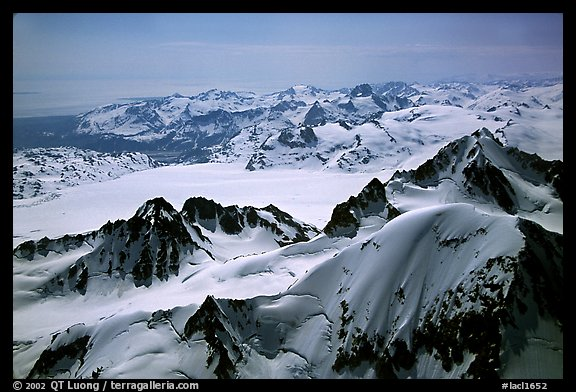 Aerial view of icefields and peaks, Chigmit Mountains. Lake Clark National Park (color)