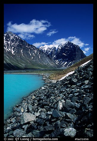 Talus, Turquoise Lake and Telaquana Mountain. Lake Clark National Park, Alaska, USA.