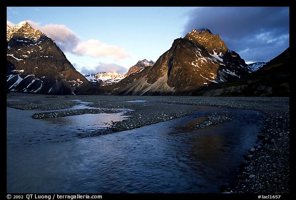 River bar below the Telaquana Mountains, sunset. Lake Clark National Park (color)