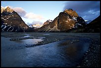 River bar below the Telaquana Mountains, sunset. Lake Clark National Park, Alaska, USA. (color)