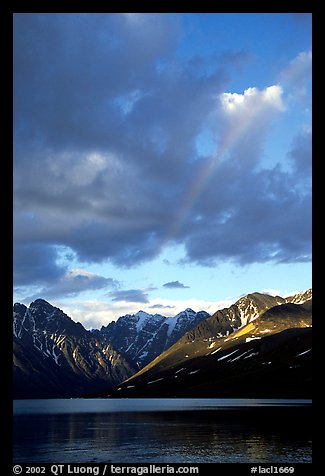 Rainbow and Telaquana Mountains above Turquoise Lake, sunset. Lake Clark National Park (color)