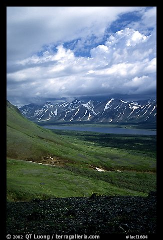 Tundra slopes and Twin Lakes. Lake Clark National Park, Alaska, USA.
