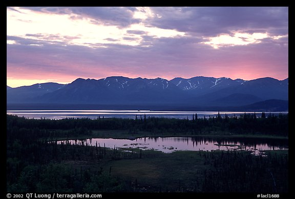 Lake Clark from the base of Tanalian mountain, sunset. Lake Clark National Park (color)