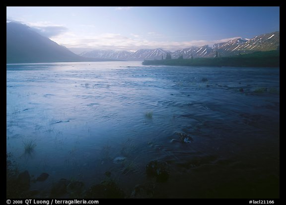 Outlet stream of Twin Lakes on a foggy morning. Lake Clark National Park (color)