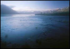 Outlet stream of Twin Lakes on a foggy morning. Lake Clark National Park ( color)